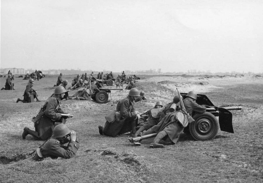 Lengyel páncéltörő ágyúk tüzérségi helyzetben.