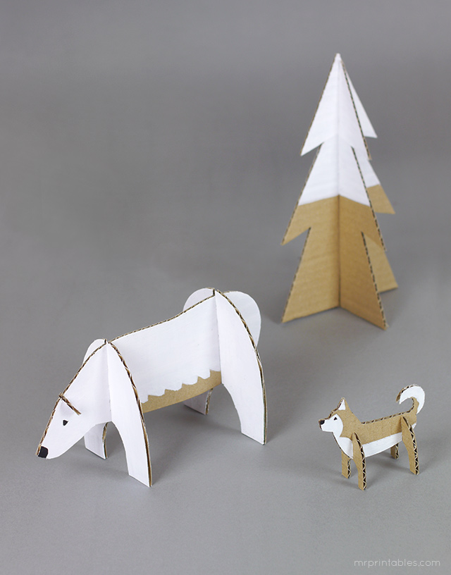 cardboard-animals-polar-bear-husky.jpg