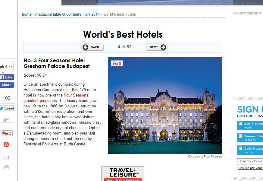 Four Seasons Gresham Palace: a világ 3. legjobb szállodája