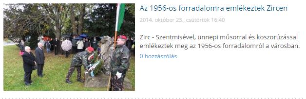 Az 1956-os forradalomra emlékeztek Zircen